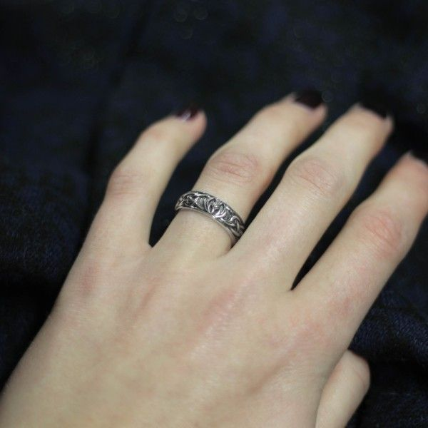Celtic Silver Wedding Commitment Ring 9142